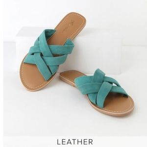 NWT Joy Turquoise Suede Leather Slide Sandals 7.5